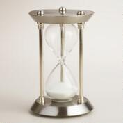 Silver Metal Hourglass with White Sand