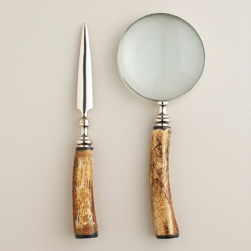 Silver and Bone Magnifying Glass and Letter Opener Set