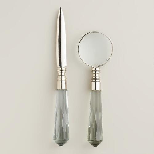 Silver and Glass Mini Magnifying Glass and Letter Opener Set