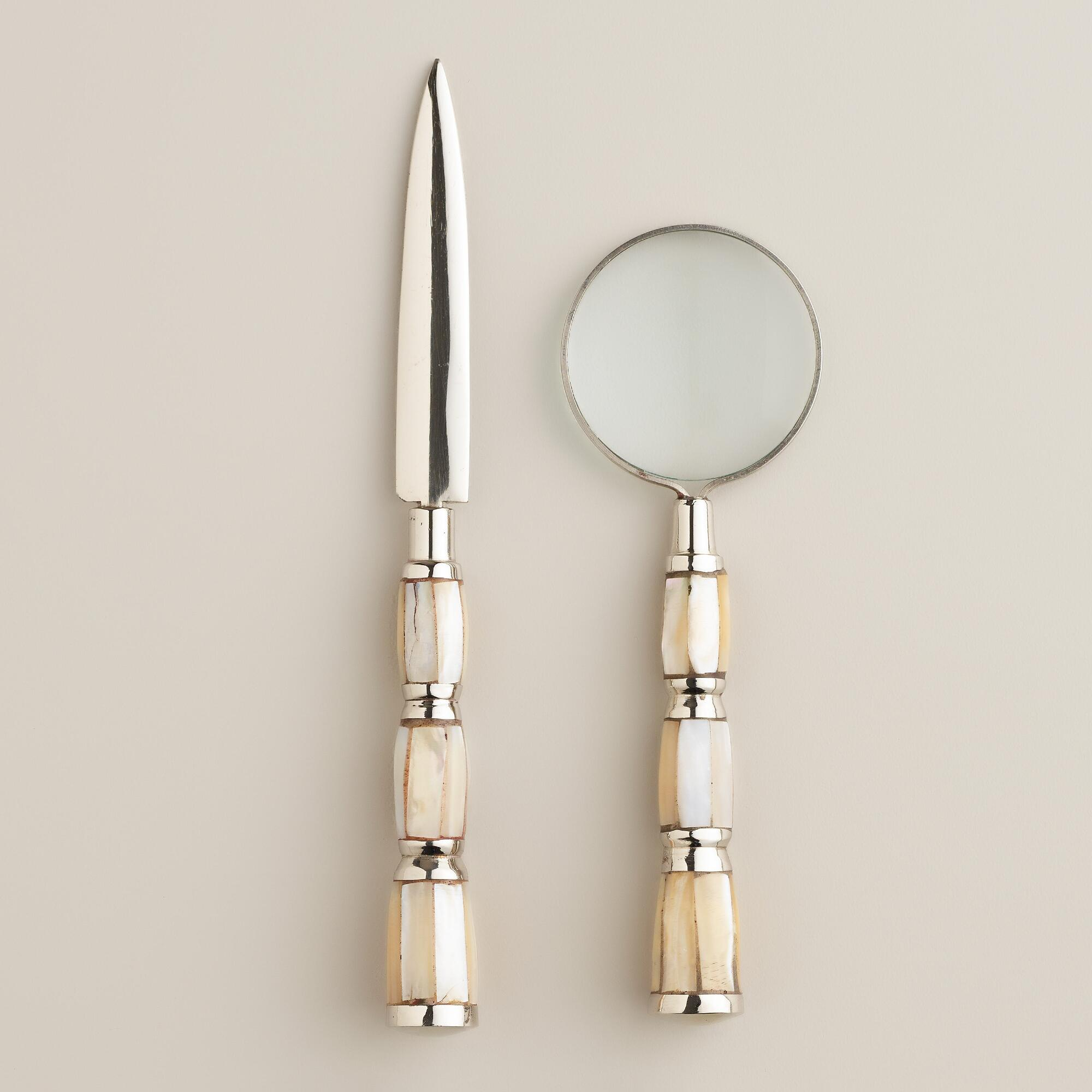 silver and pearl mini magnifying glass and letter opener With letter opener and magnifying glass set