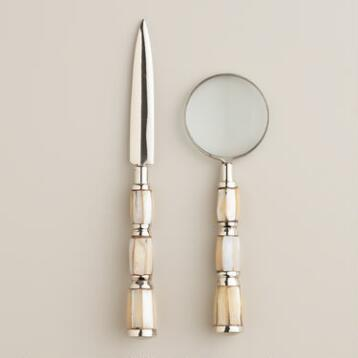 Silver and Pearl Mini Magnifying Glass and Letter Opener Set