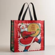 Drumming Santa Reusable Tote Bag