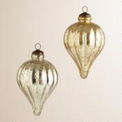 Silver and Gold Teardrop Mercury Glass Ornaments, Set of 2