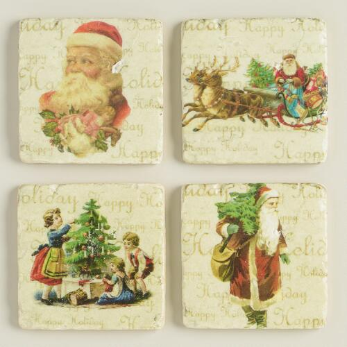 Vintage Santa Coasters, Set of 4