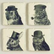 Dressed Animal Coasters, Set of 4