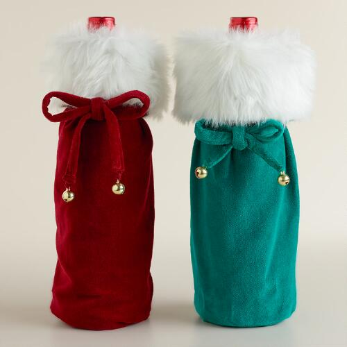 Green and Red Velvet Wine Bags, Set of 2
