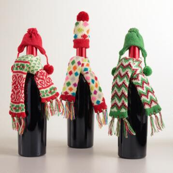 Hat and Scarf Wine Bottle Outfits, Set of 3