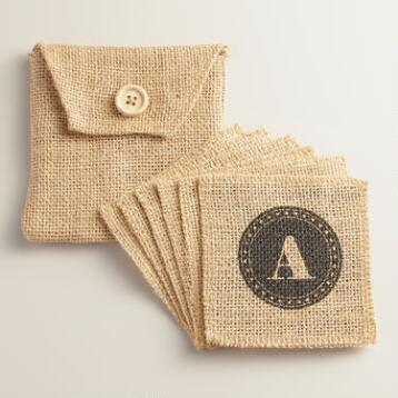 Jute Personalized Monogram Coasters, Set of 6