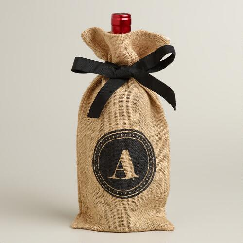 """A"" Monogram Jute Wine Bag"