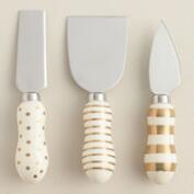 Metallic Ceramic 3-Piece Cheese Knife Set