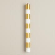Striped Gold Taper Candles, 6-Pack