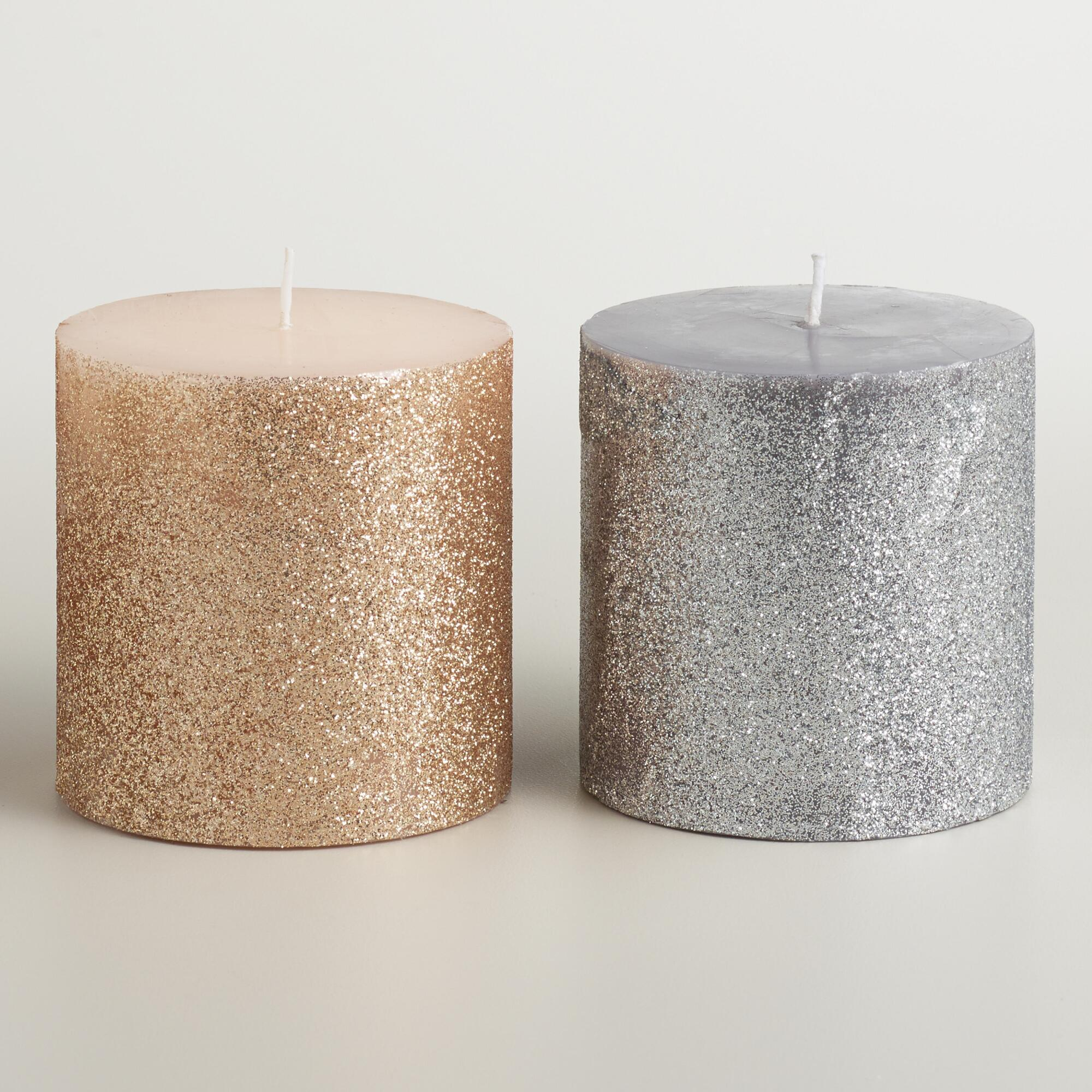 3x3 silver and gold glitter pillar candles set of 2 for Shimmer pillar candle