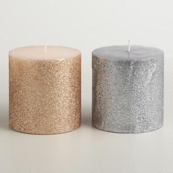 3x3 Silver and Gold Glitter Pillar Candles, Set of 2