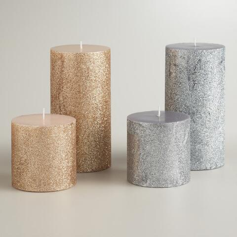 3x6 silver and gold glitter pillar candles set of 2