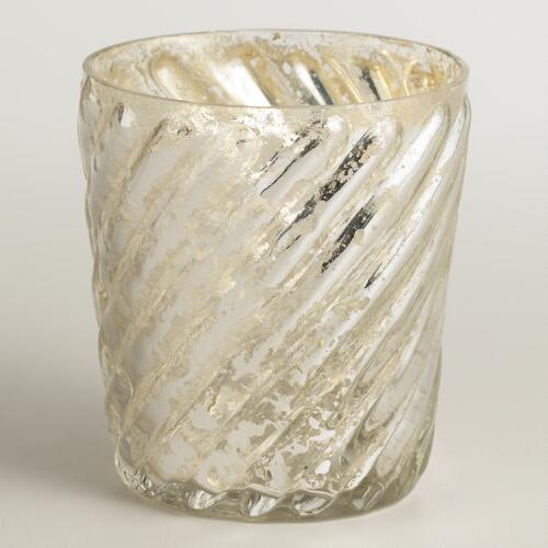 Silver Swirl Mercury Glass Votive Holder