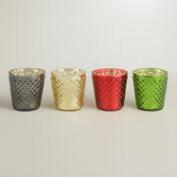 Hobnail Mercury Glass Votive Holders, Set of 6