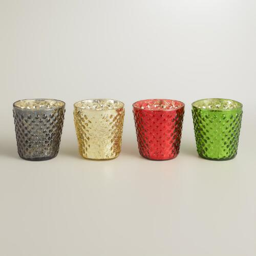 Hobnail Mercury Glass Votive Holders, Set of 4