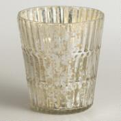 Silver Ribbed Mercury Glass Votive Candleholder