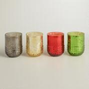 Dotted Mercury Glass Votive Candleholders, Set of 4