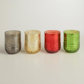 Dotted Mercury Glass Votive Candleholders, Set of 6