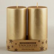 3x6 Gold Pillar Candles, 2-Pack