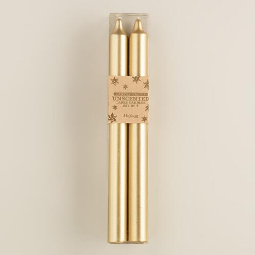 Gold Taper Candles, 4-Pack