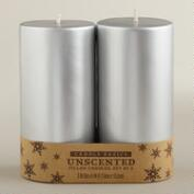3x6 Silver Pillar Candles- 2-Pack