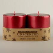 3x3 Red Pillar Candles, 2-Pack