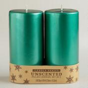 3x6 Green Pillar Candles, 2-Pack