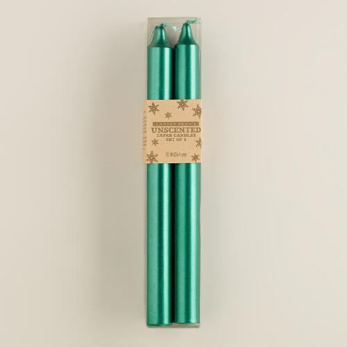 Green Taper Candles, 4-Pack