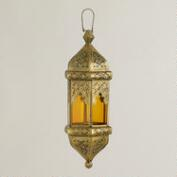 Small Amber Hexagon Tarika Hanging Lantern