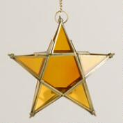 Small Amber Star Hanging Lantern