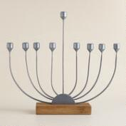 Handcrafted Wood and Metal Menorah