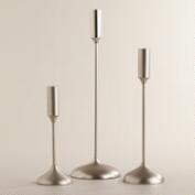 Silver Metallic Taper Candleholders
