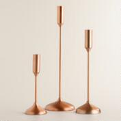 Copper Metallic Taper Candleholders