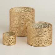 Gold Lace Metal Hurricane Candleholders
