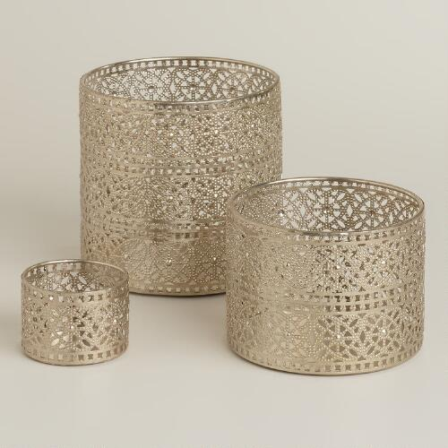 Silver Lace Metal Hurricane Candleholders