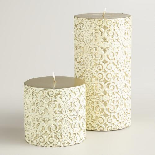 Gold and Ivory Gate Debossed Pillar Candles
