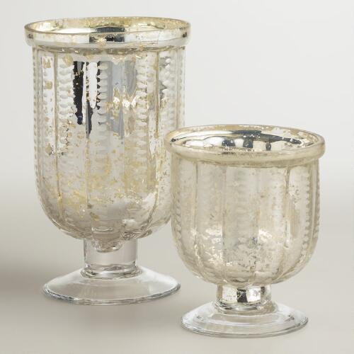 Etched Footed Mercury Glass Hurricane Candleholders
