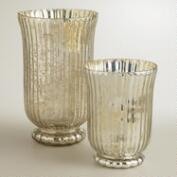Silver Ribbed Mercury Glass Candleholders