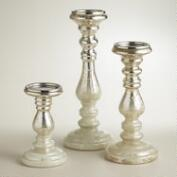 Ombre Mercury Glass Pillar Candleholders