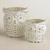 Whitewash Mercury Glass Owl Tealight Candleholders