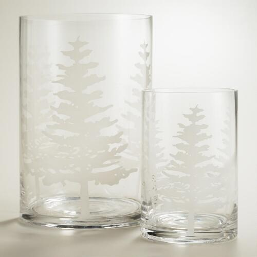 White Tree Glass Hurricane Candleholders