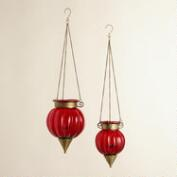 Red and Melon Tarika Hanging Lanterns