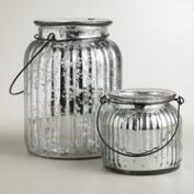 Silver Ribbed Mercury Glass Lantern Candleholders