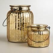 Gold Ribbed Mercury Glass Lantern Candleholders