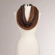 Brown Marled Knit Infinity Scarf