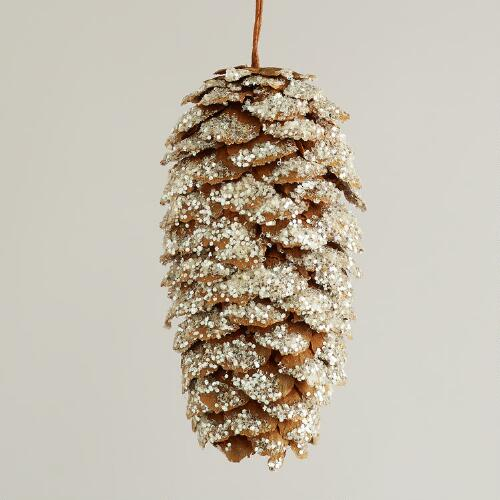 Frosted Natural Pinecone  Ornaments, Set of 12