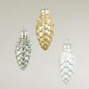 Boxed Glass Pinecone Ornaments,  Set of 3