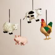 Paper Farm-Animal Ornaments, Set of 4